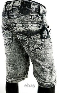 $220 Mens Rock Revival Jeans Acid Wash Shorts Black Leather Inserts Twill 36