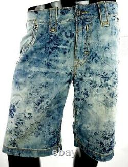 $220 Mens Rock Revival Jeans Acid Wash Twill Shorts Leather Inserts Size 32