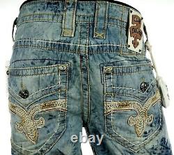 $220 Mens Rock Revival Jeans Acid Wash Twill Shorts Leather Inserts Size 36