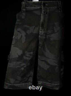 $220 Mens Rock Revival Jeans Army Camo Thick Stitch Shorts 44