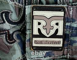 $220 Mens Rock Revival Jeans Army Camo Twill Leather Inserts Shorts 38