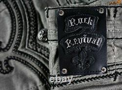 $220 Mens Rock Revival Jeans Ben Charcoal Slate Leather Inserts Shorts 34