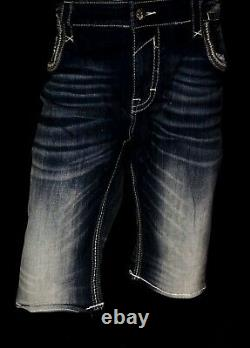 $220 Mens Rock Revival Jeans Ben Leather Inserts Shorts 42