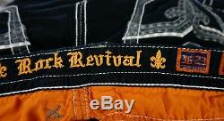 $220 Mens Rock Revival Jeans Black Twill Shorts Leather Inserts Size 36