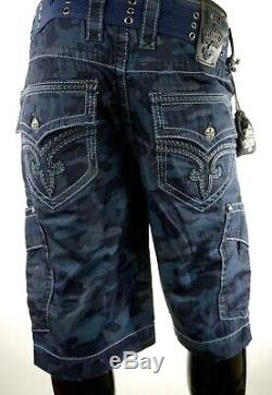 $220 Mens Rock Revival Jeans Blue Camo Leather Inserts Shorts Size 34