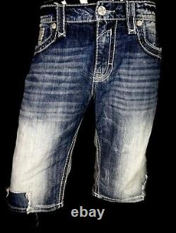 $220 Mens Rock Revival Jeans Brayden Leather Inserts Faux Shorts 38