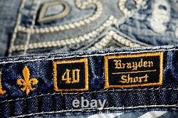 $220 Mens Rock Revival Jeans Brayden Leather Inserts Faux Shorts 40