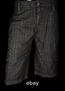 $220 Mens Rock Revival Jeans Brown / Wine Stitch Twill Shorts Size 44