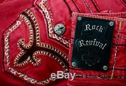 $220 Mens Rock Revival Jeans Burgundy Wine Shorts Leather Inserts Size 36