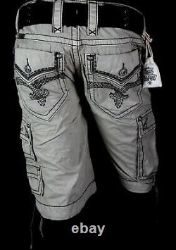 $220 Mens Rock Revival Jeans Cement Grey Twill Shorts Thick Picked Shorts 34