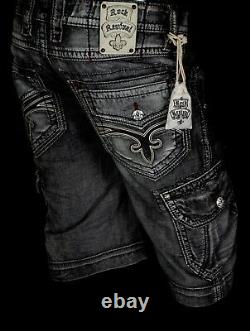 $220 Mens Rock Revival Jeans Cement Leather Inserts Twill Faux Shorts 34