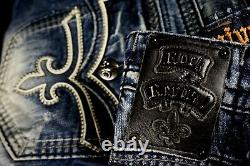 $220 Mens Rock Revival Jeans Chad Leather Inserts Shorts 38