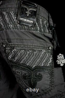 $220 Mens Rock Revival Jeans Charcoal Leather Inserts Faux Twill Shorts 40