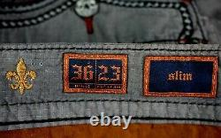 $220 Mens Rock Revival Jeans Charcoal Wine Leather Inserts Twill Shorts 36