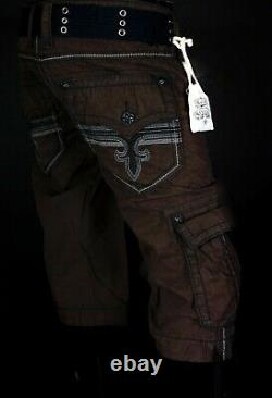 $220 Mens Rock Revival Jeans Chocolate Twill Shorts Size 38