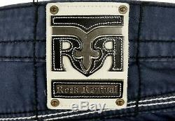$220 Mens Rock Revival Jeans Classic Board Shorts Leather Inserts Shorts 36