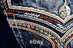 $220 Mens Rock Revival Jeans Corin Volcano Stitch Leather Inserts Shorts 33