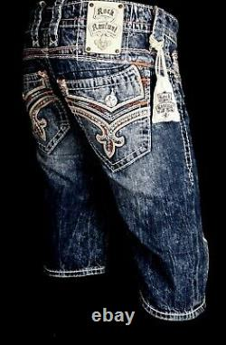 $220 Mens Rock Revival Jeans Corin Volcano Stitch Leather Inserts Shorts 38