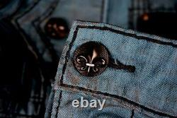 $220 Mens Rock Revival Jeans Dan Dirty Teal Leather Inserts Shorts 40