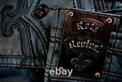 $220 Mens Rock Revival Jeans Dan Dirty Teal Leather Inserts Shorts 44