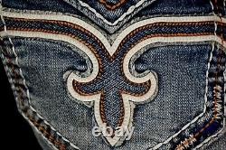 $220 Mens Rock Revival Jeans Dan Volcano Stitch Leather Inserts Faux Shorts 40