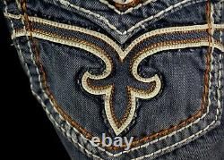 $220 Mens Rock Revival Jeans Dan Volcano Stitch Leather Inserts Shorts 34