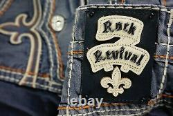 $220 Mens Rock Revival Jeans Dan Volcano Stitch Leather Inserts Shorts 42
