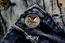 $220 Mens Rock Revival Jeans Earlin Acid Wash Leather Inserts Faux Shorts 42