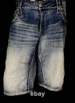 $220 Mens Rock Revival Jeans Earlin Acid Wash Leather Inserts Faux Shorts 44