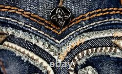 $220 Mens Rock Revival Jeans Feeney Volcano Stitch Leather Faux Shorts 36