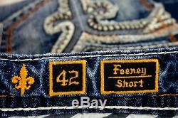 $220 Mens Rock Revival Jeans Feeney Volcano Stitch Leather Faux Shorts 42