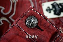 $220 Mens Rock Revival Jeans Foust Maroon Wine Leather Inserts Shorts 42