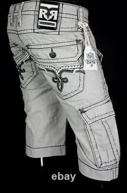 $220 Mens Rock Revival Jeans Grey Stone Twill Leather Inserts Shorts 36