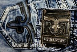$220 Mens Rock Revival Jeans Helicon Black Leather Inserts Shorts Size 34