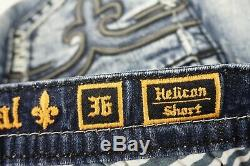 $220 Mens Rock Revival Jeans Helicon Black Leather Inserts Shorts Size 36