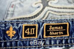 $220 Mens Rock Revival Jeans James Leather Inserts Faux Pockets Shorts 40