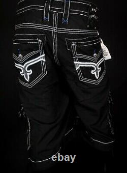$220 Mens Rock Revival Jeans Jet Black Leather Inserts Twill Shorts 44