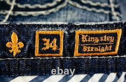 $220 Mens Rock Revival Jeans Kingsley Leather Inserts Shorts 34