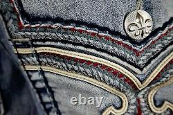 $220 Mens Rock Revival Jeans Kolby Leather Inserts Faux Shorts 34