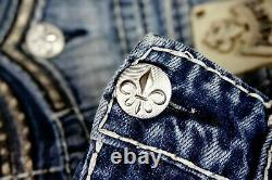 $220 Mens Rock Revival Jeans Lino Tiger Stitch Leather Inserts Shorts 36