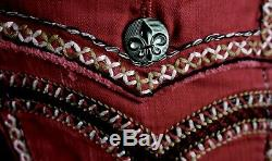 $220 Mens Rock Revival Jeans Maroon Leather Inserts Shorts Size 31, fits 30