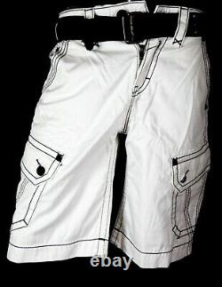 $220 Mens Rock Revival Jeans Miami Vice Twill Shorts Leather Inserts Shorts 31
