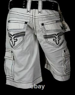 $220 Mens Rock Revival Jeans Miami Vice Twill Shorts Leather Inserts Shorts 36