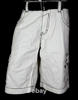 $220 Mens Rock Revival Jeans Miami Vice Twill Shorts Thick Stitch Shorts 42