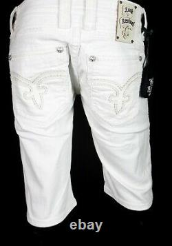 $220 Mens Rock Revival Jeans Miami Vice White Leather Inserts Shorts 30