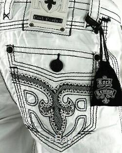 $220 Mens Rock Revival Jeans Miami Vice White Shorts Leather Inserts Size 29