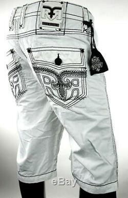 $220 Mens Rock Revival Jeans Miami Vice White Shorts Leather Inserts Size 36
