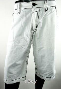 $220 Mens Rock Revival Jeans Miami Vice White Shorts Leather Inserts Size 38