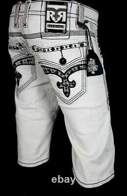 $220 Mens Rock Revival Jeans Mike Jet Black Studded Leather Inserts Shorts 32