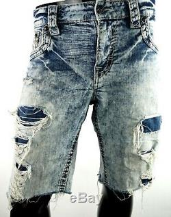 $220 Mens Rock Revival Jeans Nardo Destroyed Fraying Leather Inserts Shorts 36